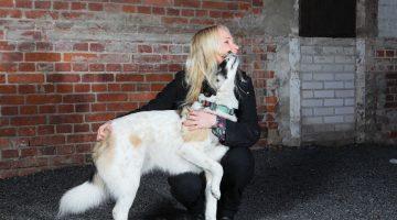 Filosofi Elisa Aaltola rescuekoiransa kanssa.